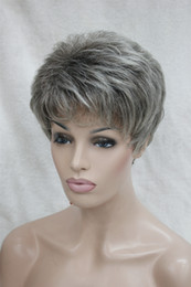 Wholesale Hot Short Hair - Hot health Super Cute gray grey mix brown root Short Straight Synthetic Hair Full Women's Wig