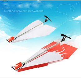 diy toy plane Coupons - electric glide paper plane DIY origaml Model folding of electric paper airplane for children's toys DIY Paper power toys