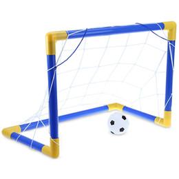 Mini juego de fútbol plegable poste de fútbol Net Set con bomba niños deporte juegos al aire libre interior juguetes niño regalo de cumpleaños plástico + NB desde fabricantes