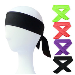 Wholesale Hair Tie Headbands - Solid Cotton Tie Back Headbands Stretch Sweatbands Hair Band Moisture Wicking Workout Men Women Bands