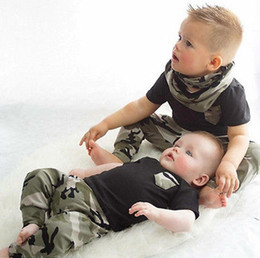 Wholesale Toddler Camouflage Shorts - 2017 Boys Girls Baby Childrens Clothing Sets Summer Black Gray tshirts Camouflage Pants 2Pcs Set Cotton Toddler Tracksuits Infant Clothes