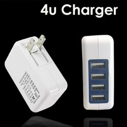 Wholesale Iphone Wall Charger Dhl - 3.1A 15W High Speed 4 Port USB Wall Charger Travel Charger Power Adapter with Folding Plug for iPhone 7 Plus Android DHL OTH361