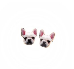 Wholesale Lindo colorido esmalte Animal Dog Head Stud Pendiente Bulldog Pendientes Puppy Dog Earrings para mujeres Lady Lover Jewelry