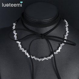Wholesale Thin Gold Plated Chains - LUOTEEMI Fashion Thin Irregular Array AAA Cubic Zirconia Choker Necklace White Gold Color Women Collier Colar Jewellery