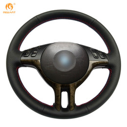 Wholesale Bmw E39 Steering - Mewant Black Genuine Leather Car Steering Wheel Cover for BMW E39 E46 325i E53 X5