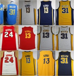 Wholesale Red Killers - Throwback Killer #31 Reggie Miller Stripe Basketball Jerseys 13 Paul George Classic Red Retro Stitched Shirts Basketball Jersey MENS S-XXL