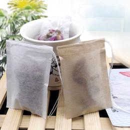 Wholesale Paper Tea - 6*8cm Unbleached Tea Filters Wood Pulp Teabags Paper Drawstring Brown White Color Tea bag 100pcs lot