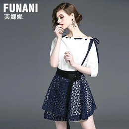 Wholesale Black Sequin Skirt Small - Fu Nani spring summer new small fresh lace two piece suit dress skirt fashion collar A A-line skirt