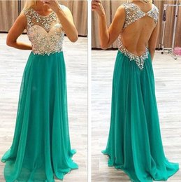 Wholesale Ladies Evening Jacket Dresses - Sexy Crystal Beaded Hollow Back A Line Evening Dresses Long Chiffon Woman Gowns Long Prom Lady Gowns Spaghetti Straps