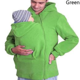 Wholesale Wholesale Men Carry - 3 Colors Men Baby Kangaroo Carrier Hoodie Coat Autumn Kangaroo Hooded Outwear Pullover Sweatshirt Multi-Functional Clothing