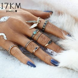 Wholesale Wholesale Lucky Ring Stone - Wholesale- 17KM New Retro Punk Leaf Ring Set Vintage Antique Gold Color Lucky Arrow midi Rings for Women 8PCS Set Blue Stone Jewelry