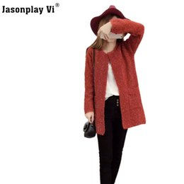 Wholesale Wholesale Women Cashmere Sweaters - Wholesale- Jasonplay Vi & Winter Wram V-Neck Sweater Women Cardigans Cashmere Knitted Sweaters Comfortable Casual Long pull femme Coat 09