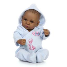 "Wholesale Handmade Collectible Dolls - 11""Handmade Black African American Reborn Baby Dolls Silicone life like reborn Doll lifelike reborn baby dolls newbor soft vinyl reborn baby"