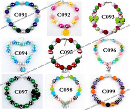 Wholesale Xmas Fashion - Fashion INS Xmas Girls Chunky Necklaces Bubblegum Necklace Kids Bead Necklace DIY Gumball Beads Children Jewelry Accessories for Party Gifts