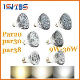 Wholesale Wholesale Pure Led Bulbs - E27 Dimmable PAR20 PAR30 PAR38 LED Light Bulb 9 10 14 18 24 30 36W Led spotlight Warm Pure Cool White 110-240V