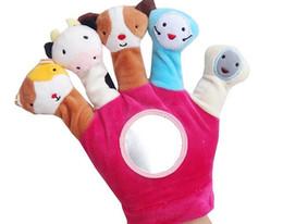 Wholesale Finger Gloves For Babies - 1 Pair Cute Animal Hand Puppet Dolls Plush Baby Hand Glove Puppet Finger Toy for Children Bedtime Stories