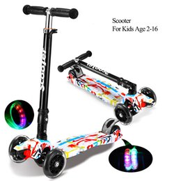 Wholesale Feet Wheels Scooter - wholesale kids scooter with 4 LED falshing PU wheels kick scooter adjustable height folding portable mini foot scooter christmas gifts