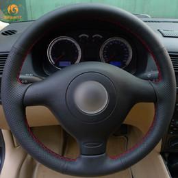Noir vw polo en Ligne-Mewant Couvre Volant en Cuir Artificiel Noir pour Volkswagen VW Golf 4 Passat B5 1996-2003 Seat Leon 1999-2004 Polo 1999-2002
