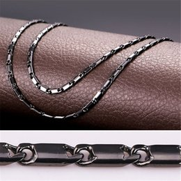"Wholesale Black Crystal Wedding Necklaces - U7 3MM 22"" 18K Gold Platinum Black Gun Plated Link Chains Classical Necklace For Men Women Fashion Jewelry Perfect DIY Accessories Gift N217"