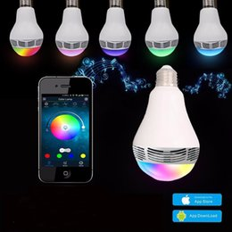 Wholesale Speakers Square - Speaker bluetooth E27 LED RGB Light Music Bulb Lamp Color Changing via WiFi App Control mp3 player wireless bluetooth speaker