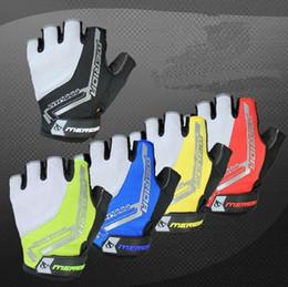 Wholesale merida blue - Merida Cycling Bicycle 3D Shockproof Hexagon GEL Sport Half Finger Gloves Bike Ultra-breathable Half Finger Glove cycling gloves