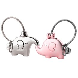 Wholesale Romantic Items - elephant for lovers gift bag pendant a couples key ring Trinket key chains car keychain chaveiro innovative Items