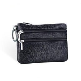 Wholesale Small Leather Pocket Change Holder - Wholesale- Genuine Leather Coin Purse Women Small Wallet Change Purses Money Bags Children's Pocket Wallets Key Holder Mini Zipper Pouch