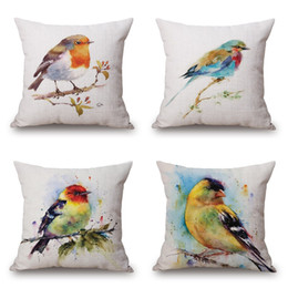 Wholesale owl handmade pillow - Birds Flower Cushion Cover Watercolor Art Owl Pillow Cover Thin Linen Pillow Cases 45X45cm 13 Style Kids Favor Bedroom Sofa Decoration