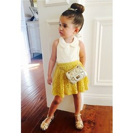 Wholesale Kids White Suspenders - Baby Girl Clothes Sets Boutique 2017 Summer Fashion Sleeveless White Chiffon Shirts+Yellow Lace Skirts 2pcs Hot Selling Kids Clothing Set Gi