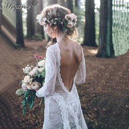 Wholesale Long Chiffon Robe - Real Picture robe de mariee 2017 Bohemian Style Wedding Dresses Exquisite Lace Long Sleeve Outdoor Wedding Open Back Bridal Gown