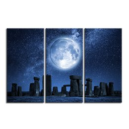 Wholesale Modern Art Nature Painting - 3 Pieces Nature Landscape Stonehenge and The Starry Sky Canvas Painting Modern HD Photo Printing Art Decor Unframed(30cmx60cmx3pcs)
