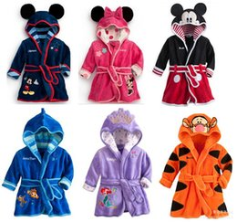 Wholesale Kids Hooded Animal Bathrobes - Children Bathrobes Nightgowns Baby Girls Boys Flannel Pajamas Cartoon Mickey Mermaid Hooded Jumpsuits Rompers Cotton Kids Bath Towel 05