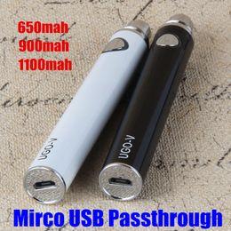 Wholesale Ego T Usb Passthrough - ecig batteries EVOD Mirco USB Passthrough battery UGO-T UGO V e cigarettes vaporizer 650 900 1100mah for protank CE4 CE5 MT3 ego battery