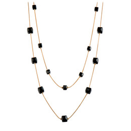Wholesale Beaded Choker Black - RAVIMOUR Crystal Long Necklace for Women Fashion Gold Color Chain Multilayer Maxi Necklaces & Pendants Chokers Jewelry 2017