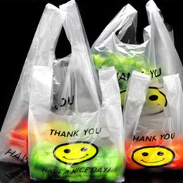Wholesale Smile Bags - 50Pcs lot 0.03mm Plastic Bags THANK YOU Smiling Face Hand Event Gifts Shopping Clear Carrier Bags Lovely Style Party Pouch