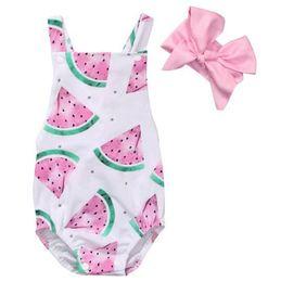 2017 ins nuevos diseños bebé recién nacido verano mamelucos bebés niños sandía impresa mono con diadema rosa 2 unids trajes desde fabricantes