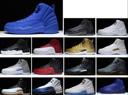 Wholesale Cheap Baskets For Sale - 2017 New 12 Premium Deep Royal Blue Suede 12s Wool Black Nylon Basketball Shoes Men Cheap Sneakers For Sale Original Box