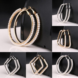 Wholesale Luxury Mother Pearl Fashion - Luxury Designer Pearl Paved 18K Gold Plated Hoop Earring 5cm Fashion Women Jewelry For Party Wedding