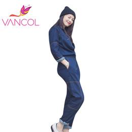 Wholesale Denim Overalls For Ladies - Wholesale- Vancol 2016 New Fashion Long Sleeve Blue Denim Overalls Clothing for Ladies High Quality Plus Size Women Denim Jumpsuit Pants