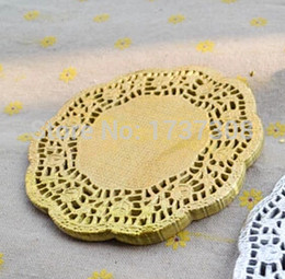 Wholesale Card Making Patterns - Wholesale- PD38,4.5Inch Vintage Gold Hollowed Lace Pattern Paper doilies Crafts for DIY Scrapbooking Card Making Wedding Decoration