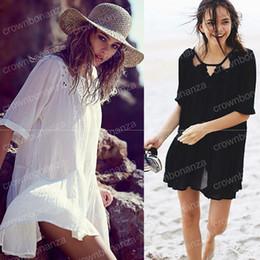 0fd7cde219 cover up beach dress cotton Canada - Summer Dress Women Bikini Swimwear Lace  Hollow Cover Ups