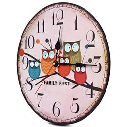 Wholesale Owl Modern Wall Clock - locks Wall Clocks 2017 Modern Design Wooden Wall Clock Owl Vintage Rustic Shabby Chic Home Office Cafe Decoration Art Large Watch Horloge...