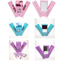 Wholesale Appliances Prices - Discount Price Hello Kitty Makeup Brushes Set Wit Mirror Case eyeshadow blush Brush Kit Make up Toiletry Beauty Appliances 8pcs brush set