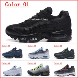 Wholesale Mens Style Cheap - 2017 New style Air Sports 95 Running Shoes For Men Cheap Black White Mens Trainers Sneakers Fashion Man athletic Walking training shoes
