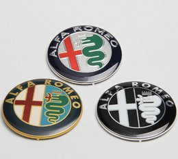 Wholesale Alfa Romeo Logo Sticker - GENUINE Quality ALFA ROMEO GTV & SPIDER NEW FRONT GRILLE LOGO EMBLEM BADGE STICKER 74MM Mito 147 156 159 166 Giulietta Spider GT