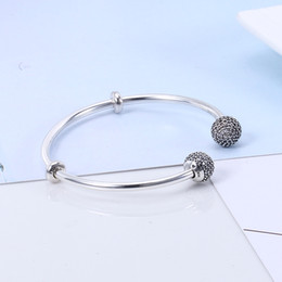 Wholesale Dog Coin Silver - 2017 High Quality 100% 925 sterling silver Fit Pandora Bracelet Bangle for beads Charm DIY Jewelry Open Bangle with Letter