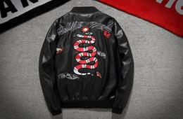 Wholesale Leather Pilot Jacket Black - The latest justin bieber Motorcycle Harley PU leather jacket embroidered snake MA1 pilot jacket men's coat kanye west Baseball Jacket