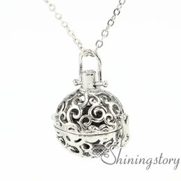 Wholesale Gold Metal Ball Chain - ball openwork aromatherapy necklace diffuser necklaces wholesale diffuser necklaces diffuser pendant necklaces metal volcanic stone essenti