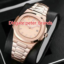 Wholesale Complete Machinery - AAA Top Quality Nautilus Mens Automatic machinery Watch rose gold case Stainless steel bracelet Men's Sport Wrist Watches