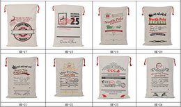 Wholesale Child Christmas Stockings - popular Christmas Gifts Sack Bags for child cotton Large Canvas Monogrammable Santa Claus Drawstring Bag Reindeers Christmas Decorations